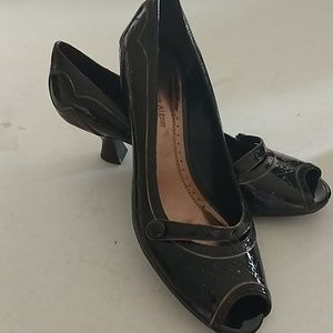 Etienne Aigner Brown Peep Toe Pumps Size 8